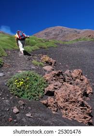Trek on eastern slopes of Etna volcano, Sicily