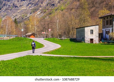 Treking on the road among nature at Sonogno in Locarno district, Switzerland