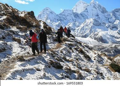 trekker from everest trek route in nepal