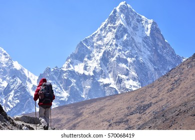 Trekker at high Himalaya mountain