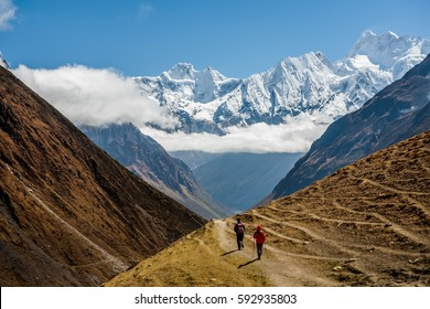 Trekker on Manaslu circuit trek in Nepal