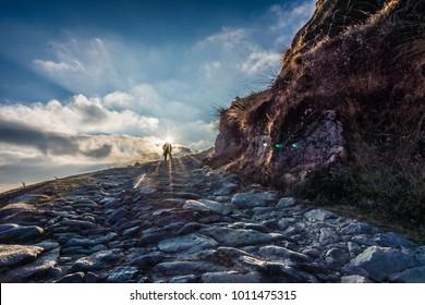 Trekker on the way to Sandakphu peak in Nepal observing the morning Sun.