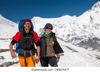 Trekkers in Khumbu valley on a way to Everest Base camp