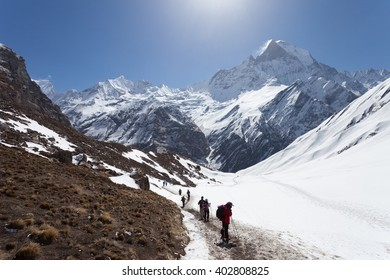 trekkers are walking in the mountains. Nepal, Himalayas, Annapurna region