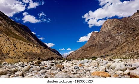 Trekking along in the Karakorum Mountains in Northern Pakistan, Landscape of K2 trekking trail in Karakoram range, Baltistan, Pakistan.