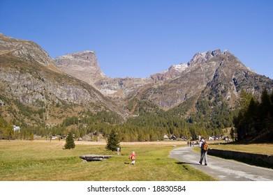 Trekking in Alpe Devero natural park in the Alps, Piemonte, Italy