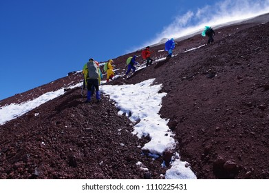 trekking Avachinsky volcano in Kamchatka, Russia.