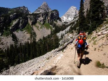 Trekking before the climb of Grand Teton Wyoming