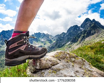 Trekking boot with the alps in background