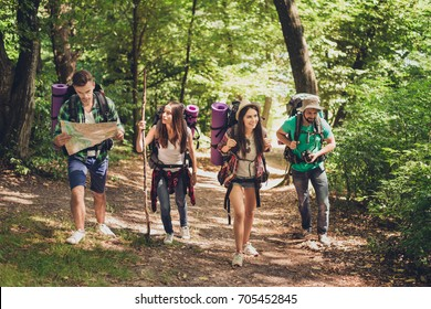 Trekking, camping and wild life concept. Four best friends are hiking in the spring woods, the guy is checking the route on a map, all are excited and joyful