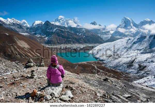 Trekking in Everest region, with a view of Mt.Everest and Gokyo lake from Renjo Pass, Nepal