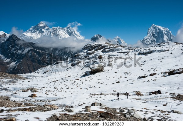 Trekking in Everest region, with a view of Mt.Everest from Renjo Pass, Nepal