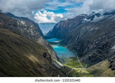 Trekking to Laguna 69 and passing by Laguna de Llanganuco in Peru Cordillera Blanca