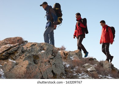 Trekking in mountains, greet the morning sun