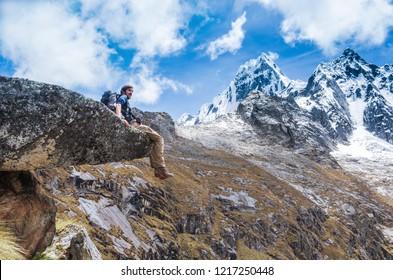 Trekking in mountains. Landscape of Santa Cruz Trek, Huascaran National Park, Cordillera Blanca, Peru