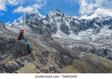 Trekking in mountains. Landscape of Santa Cruz Trek, Cordillera Blanca, Peru