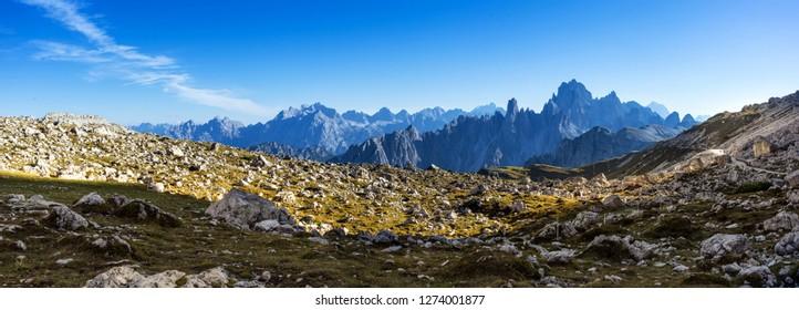 Trekking to National Park Tre Cime di Lavaredo. Dolomites, South Tyrol, Italy