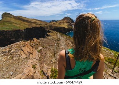 Trekking on a seashore in Madeira with a view on the Atlantic ocean