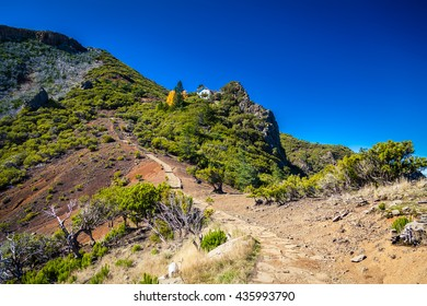 trekking path to the top of the highest mountain of Madeira - Pico Ruivo, Portugal