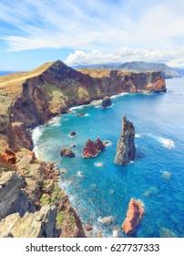 trekking to Sao Lourenco. Amazing cliff beach panorama, Madeira island, Portugal