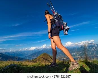 Trekking scene in the alps of Lake Como
