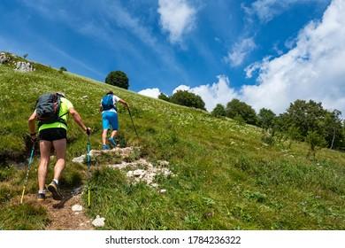 Trekking scene in the italian alps of Valsassina