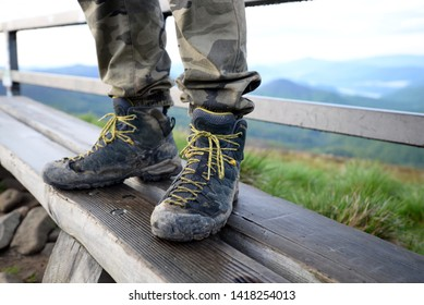 trekking shoes on the mountain