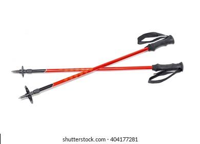 trekking sticks isolated on white