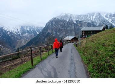 Trekking through the road in Gimmelwald, Switzerland