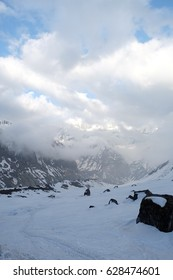 Trekking trail with Annapurna snow peaks and in Nepal