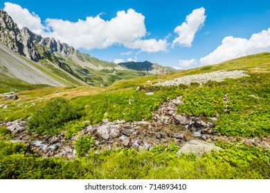 Trekking trail for Jovet lake from Les Contamines, France