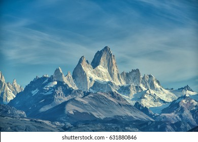 Trekking traveler enjoy Fitz Roy Mountain view, Patagonia, El Chalten - Argentina