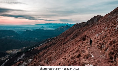 Trekking winter day in the mountains of Friuli-Venezia Giulia, Italy