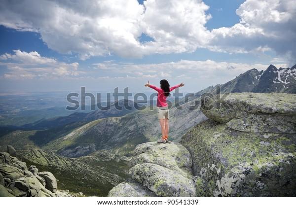 trekking woman at Gredos mountains in Avila Spain