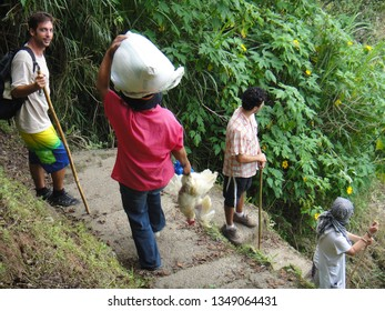 TREKKING/SAGADA/PHILIPPINES-JUNE 2012: People trekking Sagada mountains