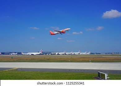 TREMBLAY-EN-FRANCE, FRANCE -27 JUN 2018- View of an Airbus A320 Neo airplane from Easyjet (U2) taking off at the Roissy Charles de Gaulle International Airport (CDG).