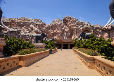 trembling bridge with statues of elephants, Sun City, South Africa