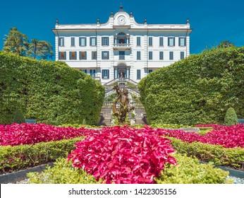 Tremezzina, Italy - August 06, 2016: Villa Carlotta facade with the fountain and no people