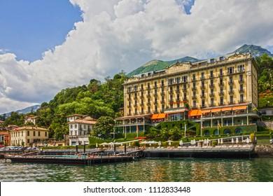 Tremezzo, Italy - June 13, 2018: Grand hotel Tremezzo on Como lake.