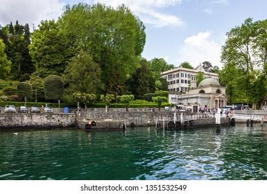 Tremezzo, Italy - March 28, 2019: Villa Carlotta on Como lake in Lombardy.