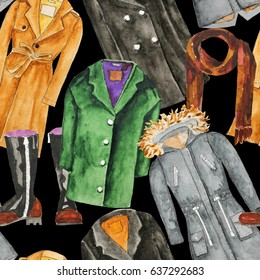 Trench coat. Parka. Autumn coat, oversized coat, boots, scatf. Hand drawn watercolor illustration. Hand drawn watercolor illustration. Raster illustration. Seamless pattern
