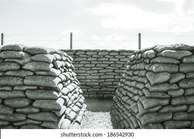 Trench of death sandbags world war one
