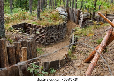 Trench in forest with barbed wire, WW II memorial