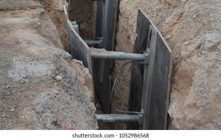 Trench Wall Safety Setup during Earthwork Construction Activity