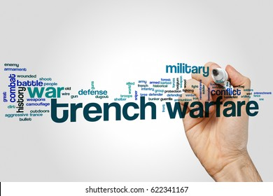 Trench warfare word cloud on grey background