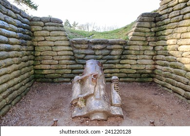 The trenches and canon on battlefield of Vimy ridge France