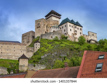 The Trencin Castle build in 13th century (in Slovak: Trenčiansky hrad, Hungarian: trencséni vár), castle above the town of Trenčín in western Slovakia. Photo made from pedestrian zone.