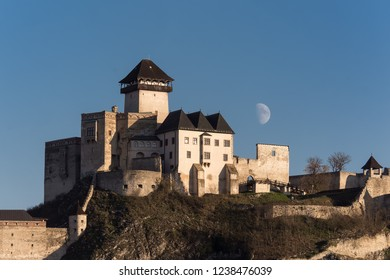 Trencin castle with moon