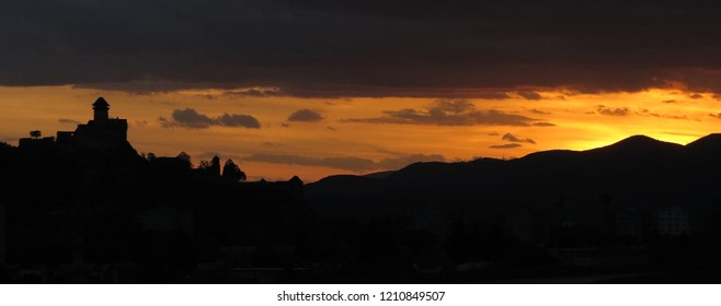 Trencin castle panorama (Slovakia) by sunset