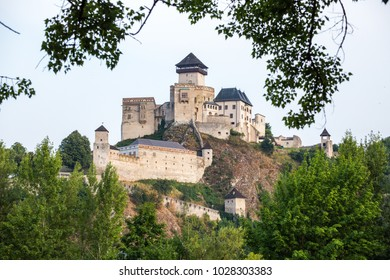 Trencin Castle. Slovakia. 02 AUGUST 2015. Trenciansky Hrad - Trencin Castle - on the hill in center of the city Trencin